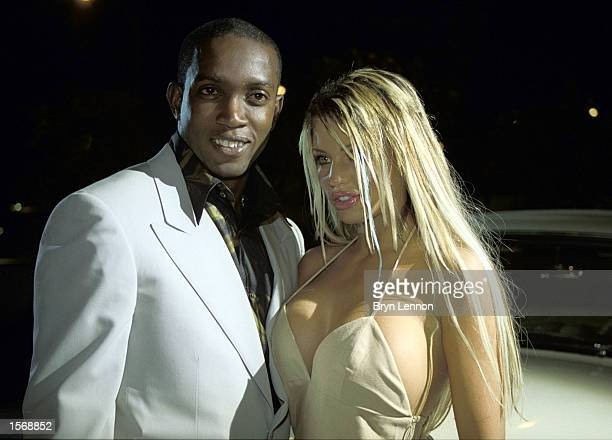 Dwight Yorke and Jordan at the Laureus Night of Sport and Film at the Monte Carlo Beach Club Hotel prior to the Laureus World Sports Awards in Monaco...