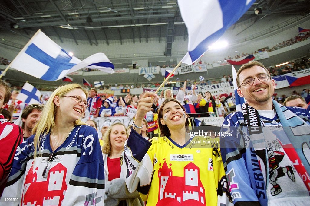 Finland fans cheer their team on during the IIHF World Ice Hockey Championship Final match against Czechoslavakia played at the Preussag Arena in Hannover, Germany. \ Mandatory Credit: Stuart Franklin /Allsport