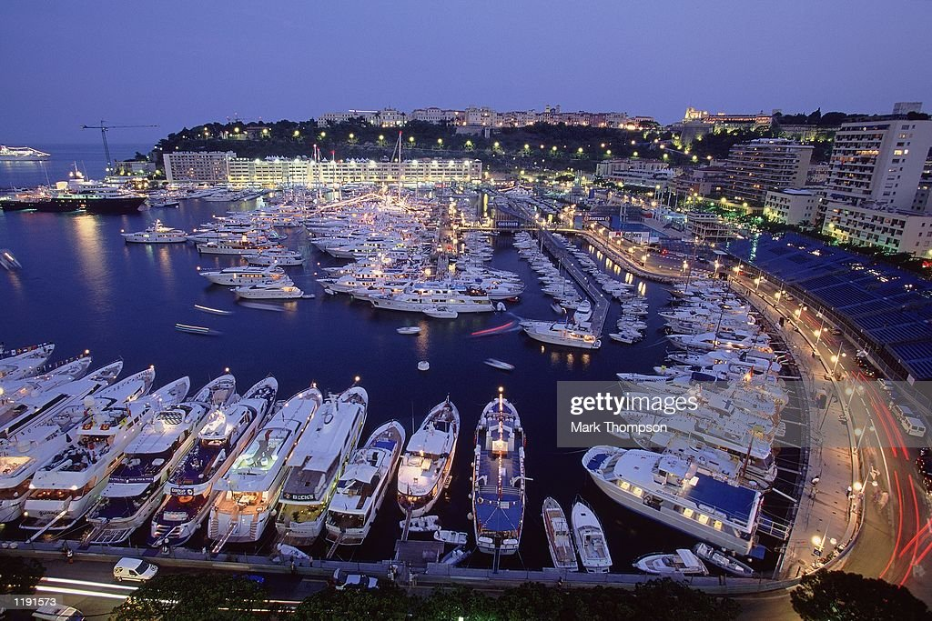 General view of the harbour at night after the Formula One Monaco Grand Prix in Monte Carlo Monaco Mandatory Credit Mark Thompson /Allsport