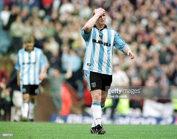 John Hartson of Coventry leaves the field after being relegated from the FA Carling Premier League after the game between Aston Villa v Coventry City...