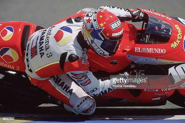 Jose Luis Cardoso of Spain in action on his Antena 3 Yamaha during the 500cc Motorcycle Grand Prix at the Bugatti Circuit in Le Mans France Mandatory...
