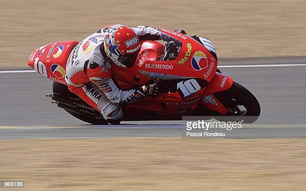 Jose Luis Cardoso of Spain puts his Antena 3 Yamaha through its paces during the 500cc Motorcycle Grand Prix at the Bugatti Circuit in Le Mans France...