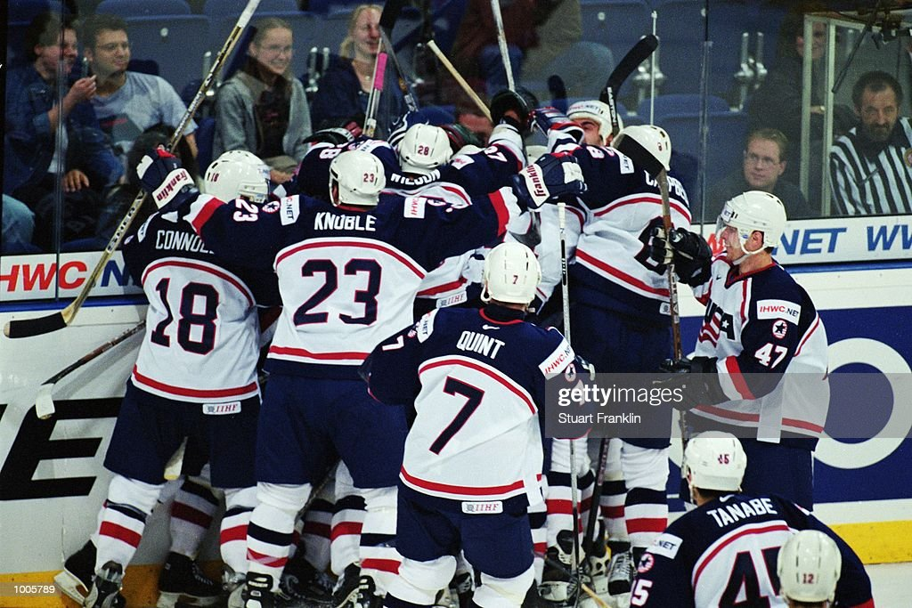 Jubilation for USA after the IIHF World Ice Hockey Championship Quater-final win against Canada held at the Preussag Arena in Hanover, Germany. \ Mandatory Credit: Stuart Franklin /Allsport