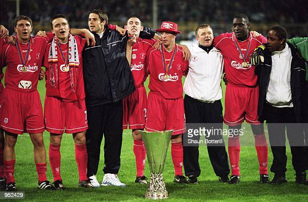 Liverpool players sing ''You''ll Never Walk Alone'' after victory in the UEFA Cup Final against Deportivo Alaves at the Westfalenstadion in Dortmund...