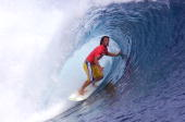 Mark Occhilupo of Australia in action narrowly beat Shane Beschen of the USA in round 2 during the Billabong Pro held at Teahupoo Tahiti DIGITAL...