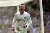 Mark Viduka of Leeds celebrates his goal during the Premiership match between Leeds United and Bradford City at Elland Road Leeds Mandatory Credit...