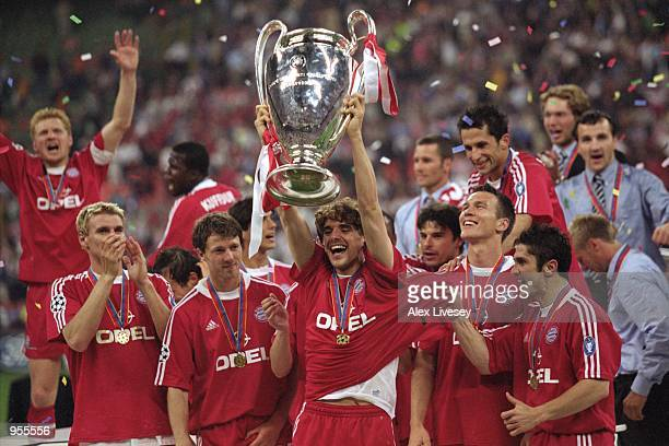 Owen Hargreaves of Bayern Munich lifts the trophy after the Uefa Champions League Final between Bayern Munich and Valencia played at the San Siro in...