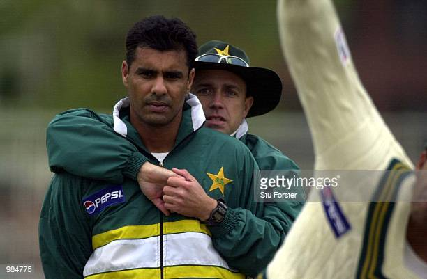 Pakistan captain Waqar Younis is given a friendly hug from coach Richard Pybus during a net session at Trent Bridge Nottingham Digital Image...