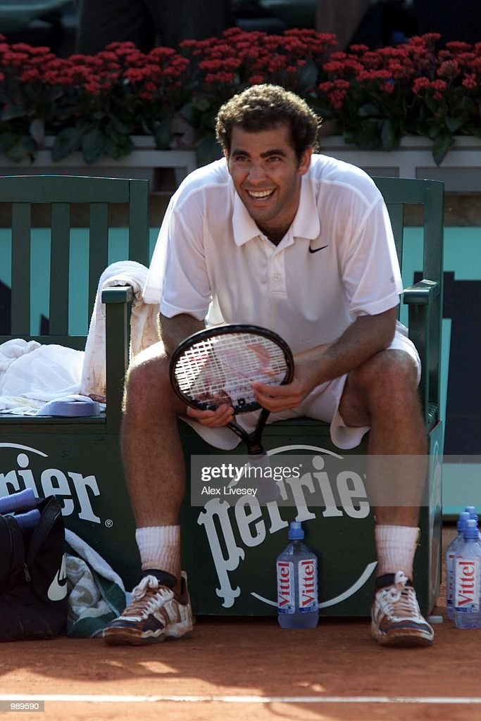 Pete Sampras of the USA celebrates after winning his first round match against Cedric Kauffmann of France during the French Open Tennis at Roland...