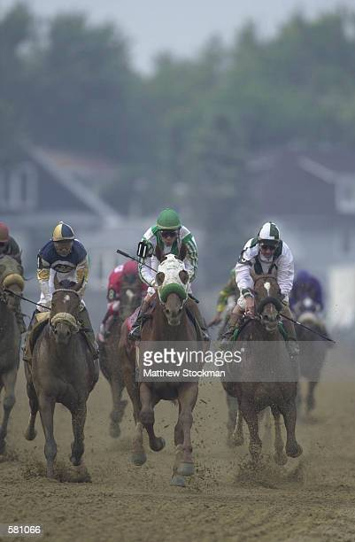 Point Given ridden by Gary Stevens crosses the finish line to win the 126th Preakness Stakes at Pimlico in Baltimore Maryland DIGITAL IMAGE Mandatory...