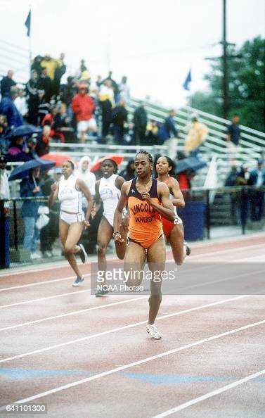 Rhondale Jones of Lincoln University makes her way to the finish line in the Women's 200 Meter Dash during the Men's and Women's Division III Track...