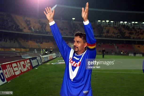 Roberto Baggio of Brescia celebrates his goal during the Serie A 29th Round League match between Lecce and Brescia played at the Via del Mare Stadium...