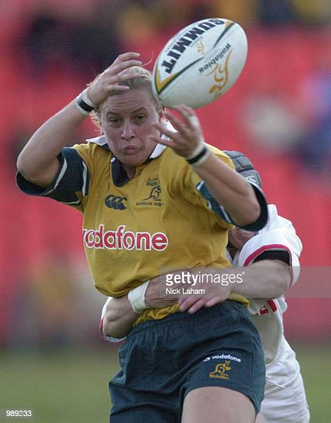 Ruan Sims of Australia A losses control of the ball during the womens rugby match between England and Australia A at Waratah Park Sydney Australia...