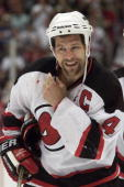 Scott Stevens of the New Jersey Devils leaves the ice during game 5 of the Western Conference Semifinals against the Toronto Maple Leafs at...