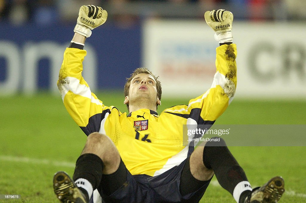 Czech Republic Keeper Petr Cech celebrates after saving France's final penalty during the European Under 21's Final Tournament, Final game between France v Czech Republic at the St. Jakob Park Stadium, Basel, Switzerland. DIGITAL IMAGE. Mandatory Credit: Jamie McDonald/Getty Images