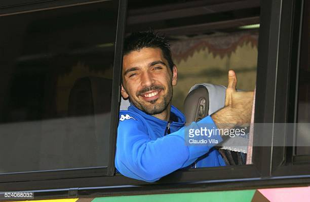 Gianluigi Buffon of Italy on the bus after Italy's training session to prepare 2002 World Cup in Sendai Japan