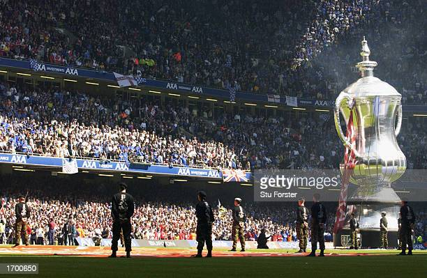 The AXA giant FA Cup trophy balloon before the AXA sponsored FA Cup Final match between Arsenal and Chelsea played at the Millennium Stadium in...