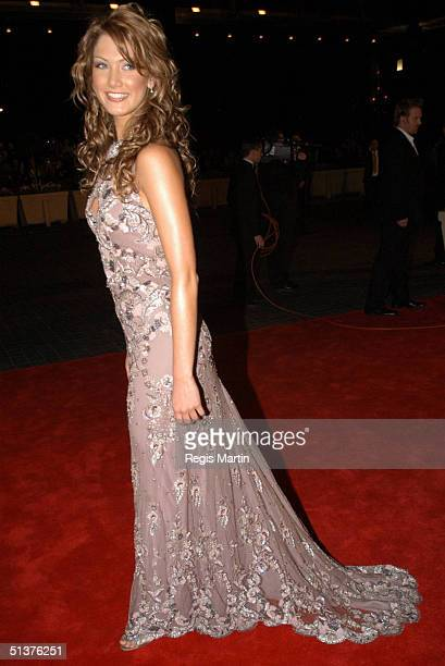 11 May 2003 X102 DELTA GOODREM wearing a C Dinnigan dress arriving on the red carpet for the 45th annual TV Week Logie Awards 2003 held at the Crown...