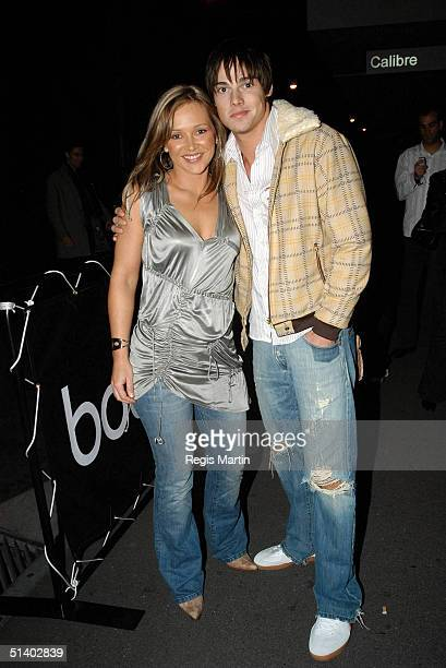 22 May 2004 CARLA BONNER and JAY BUNYAN arriving at the Boutique night club in Melbourne Melbourne Victoria Australia