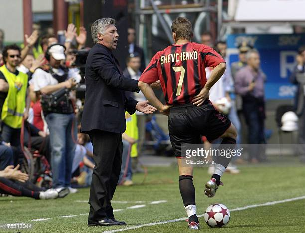 Carlo Ancelotti and Andriy Shevchenko during the Serie A 35th round match between Milan vs Juventus of Turin played at the Giuseppe Meazza stadium in...