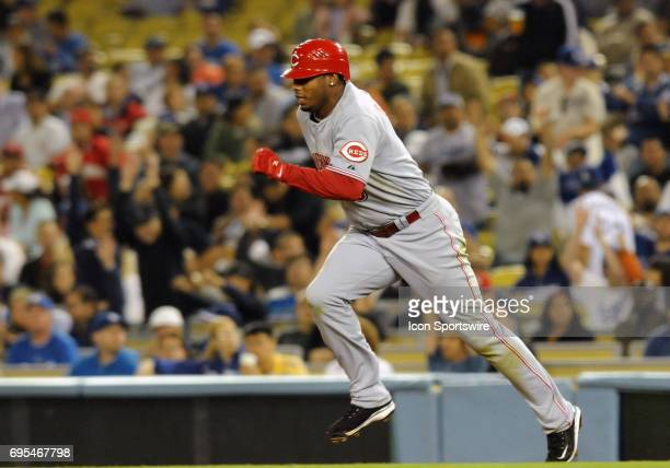Reds Ken Griffey Jr during a Major League Baseball game between the Los Angeles Dodgers and the Cincinnati Reds played at Dodger Stadium in Los...