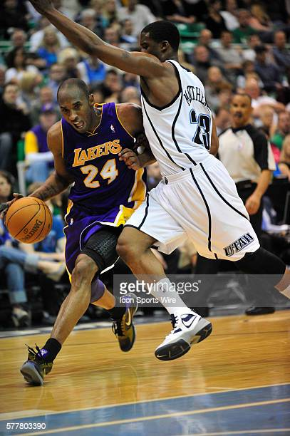Los Angeles Lakers guard Kobe Bryant tries to drive by Utah Jazz guard Wesley Matthews during the game The Los Angeles Lakers defeated the Utah Jazz...