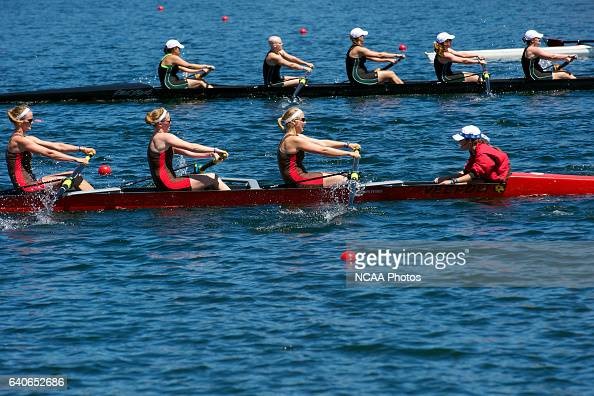 The St Lawrence team rows hard toward the finish line of the Petite Final during the Division III Women's Rowing Championship held at the Sacramento...