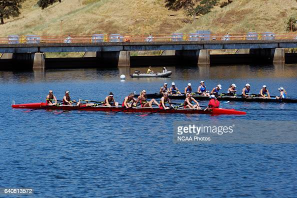 The Wellesly and St Lawrence teams recover after a hard fought Petite Final race during the Division III Women's Rowing Championship held at the...