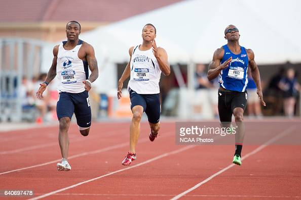Josh Edmonds of St Augustine's College races towards the finish line in the Men's 200 Meter Dash during the NCAA Division II Outdoor Track and Field...