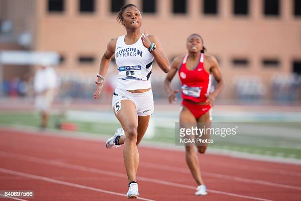 Latoya King of Lincoln University races towards the finish line in the Women's 200 Meter Dash during the NCAA Division II Outdoor Track and Field...