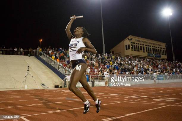 Michelle Cumberbatch of Lincoln University crosses the finish line in the Women's 4x400 relay during the NCAA Division II Outdoor Track and Field...