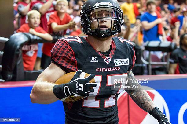 Cleveland Gladiators WR Collin Taylor in the end zone after making a touchdown catch during the game between the Orlando Predators and Cleveland...