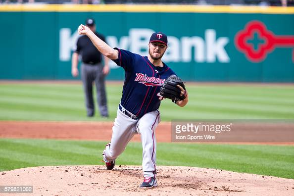 Minnesota Twins Starting pitcher Phil Hughes [5020] delivers a pitch to the plate during the game between the Minnesota Twins and Cleveland Indians...