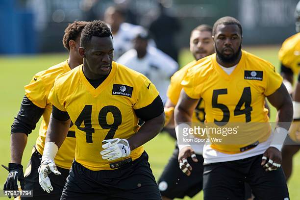 Pittsburgh Steelers linebacker Shayon Green and Pittsburgh Steelers linebacker Shawn Lemon during the 2015 Pittsburgh Steelers Rookie Minicamp at the...