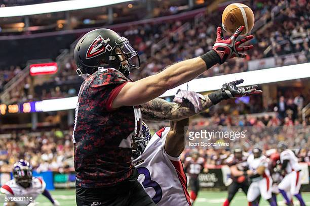 The ball goes off the hand of Cleveland Gladiators WR Collin Taylor as New Orleans VooDoo DB Rayshaun Kizer defense in the end zone during the game...