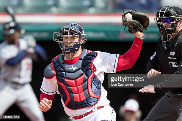 Cleveland Indians Catcher Chris Gimenez [4867] hangs on to a foul tip for strike three during the ninth inning of the Major League Baseball game...