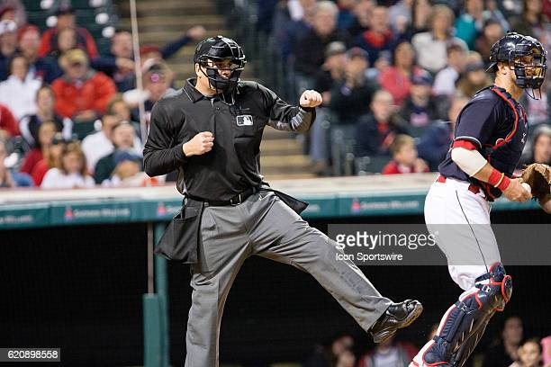 Home plate umpire Mike DiMuro calls Kansas City Royals Catcher Salvador Perez [7963] out on strikes during the seventh inning of the Major League...