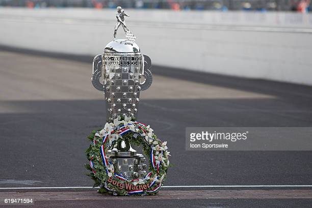 The BorgWarner Trophy at the Day After Photo Shoot for the 100th running of the Indianapolis 500 at the Indianapolis Motor Speedway in Speedway IN