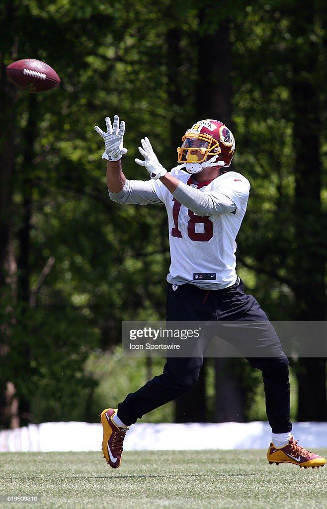 Washington Redskins wide receiver Josh Doctson (18) in action during the Washington Redskins Mini-camp.