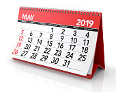 May 2019 Calendar. Isolated on White Background. 3D Illustration