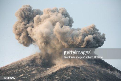 May 21, 2008 - Ash cloud from strong Strombolian / Vulcanian eruption of Anak Krakatau volcano, Sunda Strait, Java, Indonesia.