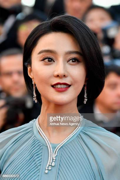 BEIJING May 21 2017 Jury member for the 70th Cannes International Film Festival Chinese actress Fan Bingbing poses on the red carpet at the opening...