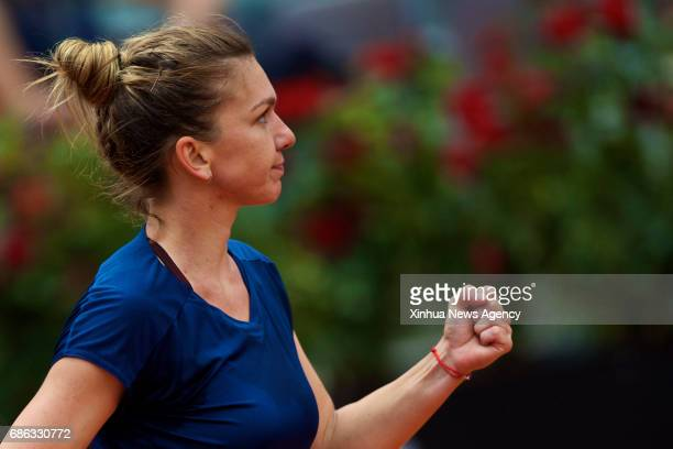 ROME May 21 2017 Romania's Simona Halep celebrates scoring during the semifinal match of women's singles against Netherlands' Kiki Bertens at the...