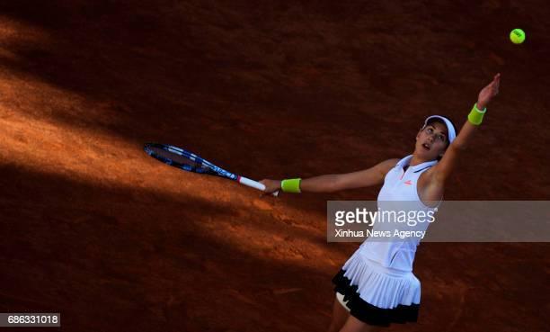 ROME May 21 2017 Spain's Garbine Muguruza serves during the semifinal match of women's singles against Ukraine's Elina Svitolina at the Italian Open...