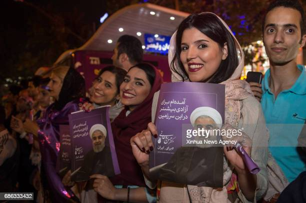 TEHRAN May 21 2017 Supporters of Iranian President Hassan Rouhani celebrate victory in Tehran Iran May 20 2017 Iran's incumbent moderate President...