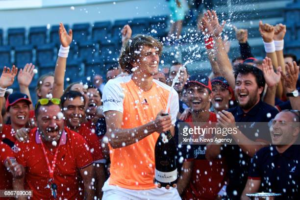 Alexander Zverev of Germany celebrates after he won the final match of men's singles against Novak Djokovic of Serbia at the Italian Open tennis...