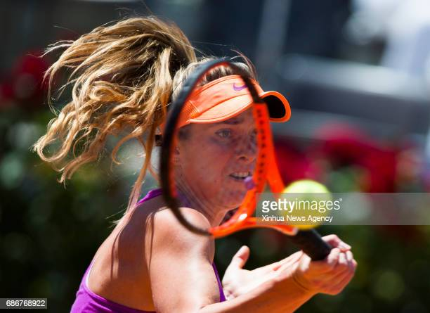 Ukraine's Elina Svitolina returns the ball during the final match of women's singles against Romania's Simona Halep at the Italian Open tennis...