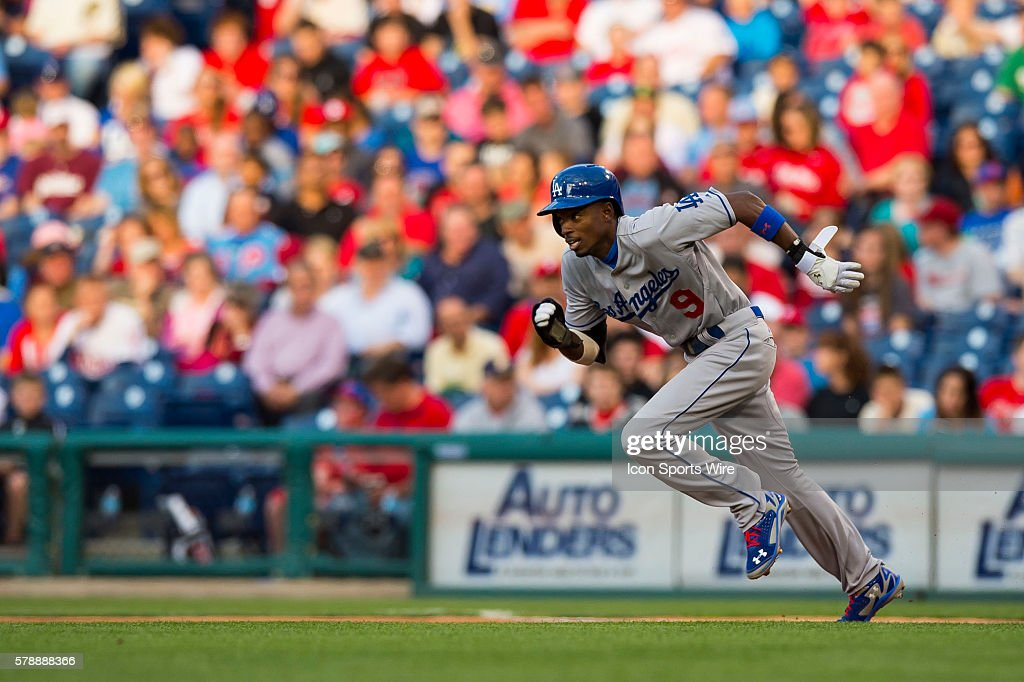 Los Angeles Dodgers second baseman Dee Gordon (9) starts his steal towards second base during a Major League Baseball game between the Philadelphia Phillies and the Los Angeles Dodgers at Citizens Bank Park in Philadelphia, Pennsylvania.