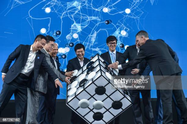 WUZHEN May 23 2017 Chinese Go player Ke Jie and other guests attend the opening ceremony of the Future of Go Summit before a match between him and...