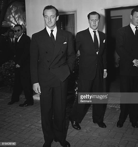 May 24 1946 Beverly Hills California actor David Niven and English actor Robert Coote are shown at Memorial services held May 22 1946 at All Saints...